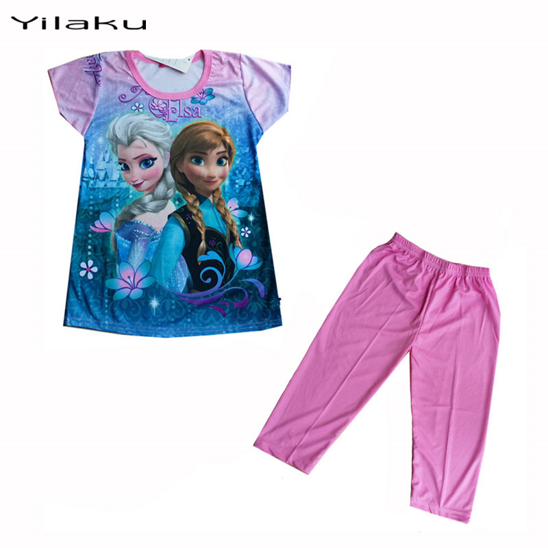 Kids Pijamas Set Summer Girls Pajamas Elsa Anna Pyjamas Kids Children Cartoon Pajamas Snow Queen Baby Girl Pijamas Sets CK001