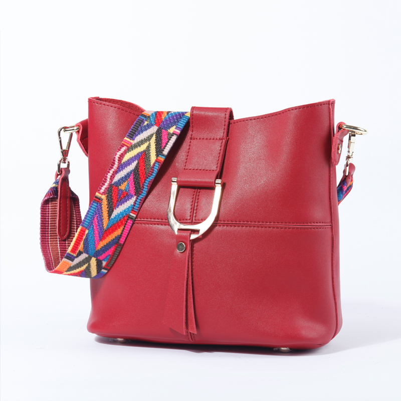 New Fashion Women Bucket Bag Genuine Leather Shoulder Cross Body Bags With Colorful Strap Burgundy Brand Ladies Designer Bag Set