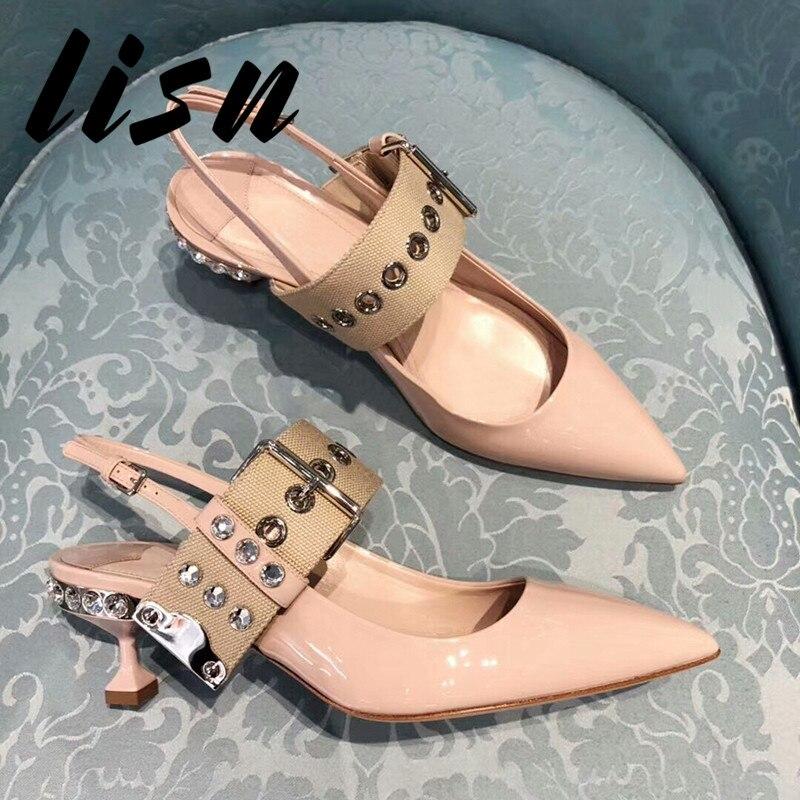 acdb064f9 Verão Baixo Pic as Sapato De Sexy Preto Lisn Pic Bege Bico Sapatos Diamante  Novo Salto Mulheres Beading As Cristal Bombas Fino dWQBorCex