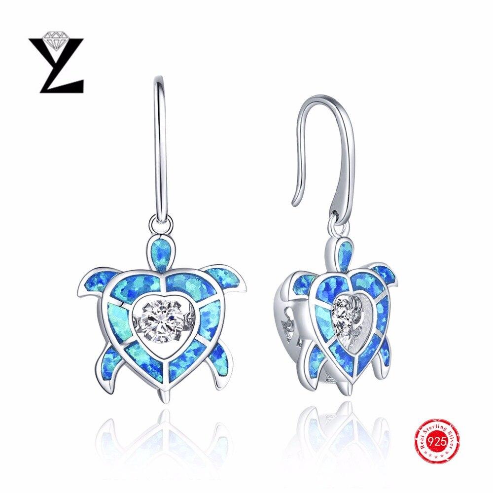 925 Sterling Silver Dangle Earrings Blue Fire Opal Dancing Cz Diamond  Earrings Long For Women Luxury
