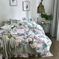 TUTUBIRD Green palm leaves 100% Cotton bedlinen duvet cover bedding set pastoral boho style home textile bedclothes