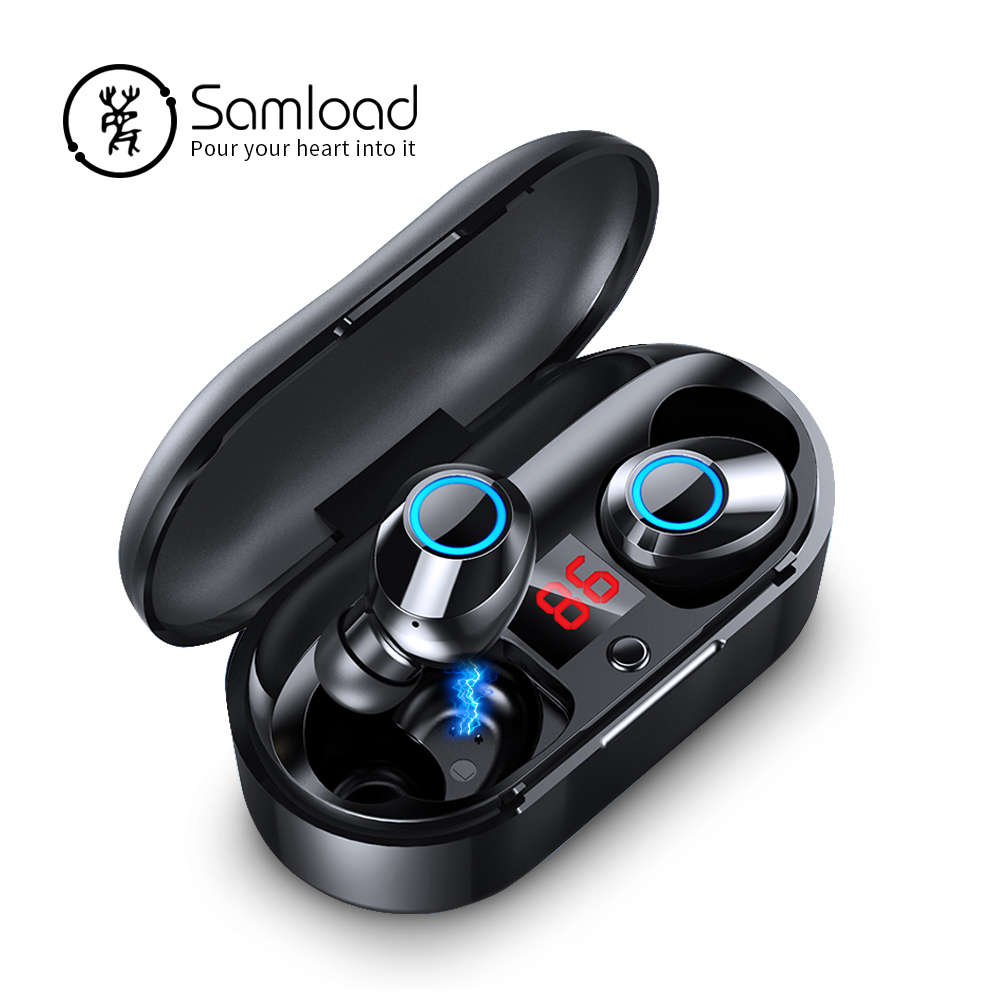 Samload Bluetooth 5 0 Headphones True Wireless Stereo Earphones with Power display Charging box For iPhone