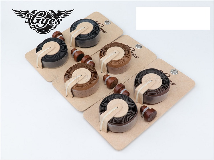 TAIWAN GYES GENUINE leather road bike tapes /genuine leather bike tapes with wooden plug bicycle tapes bicycle grips tape
