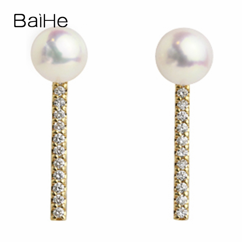 BAIHE Solid 14K Yellow Gold 3.5mm Round Cut 100% Genuine Natural Freshwater Pearl Wedding Trendy Fine Jewelry Gift Stud Earrings 14k yellow gold over 2 ct d vvs1 round cut stud earrings