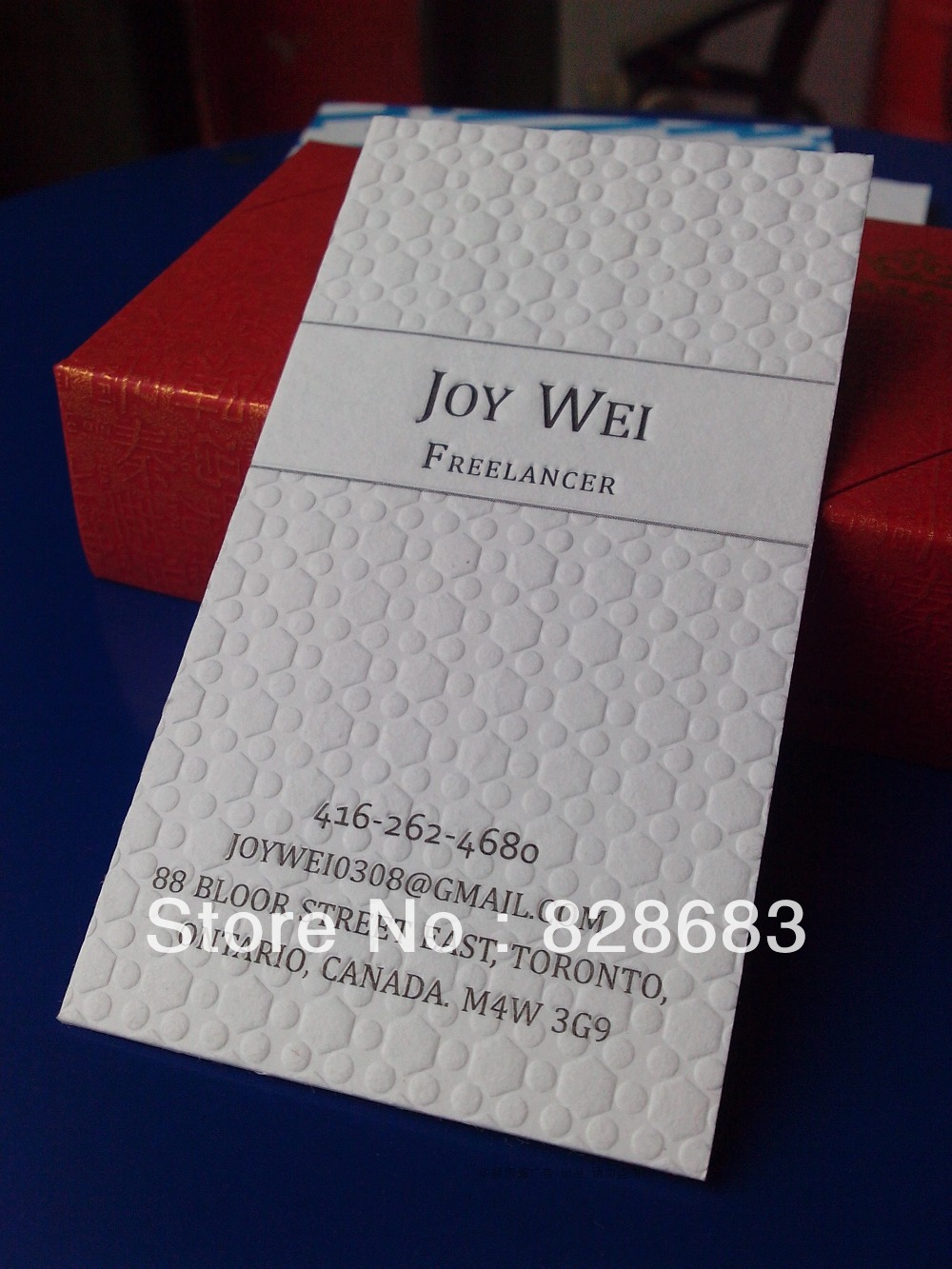 600gms Luxe paper business card with1 color printing on 1 side ...