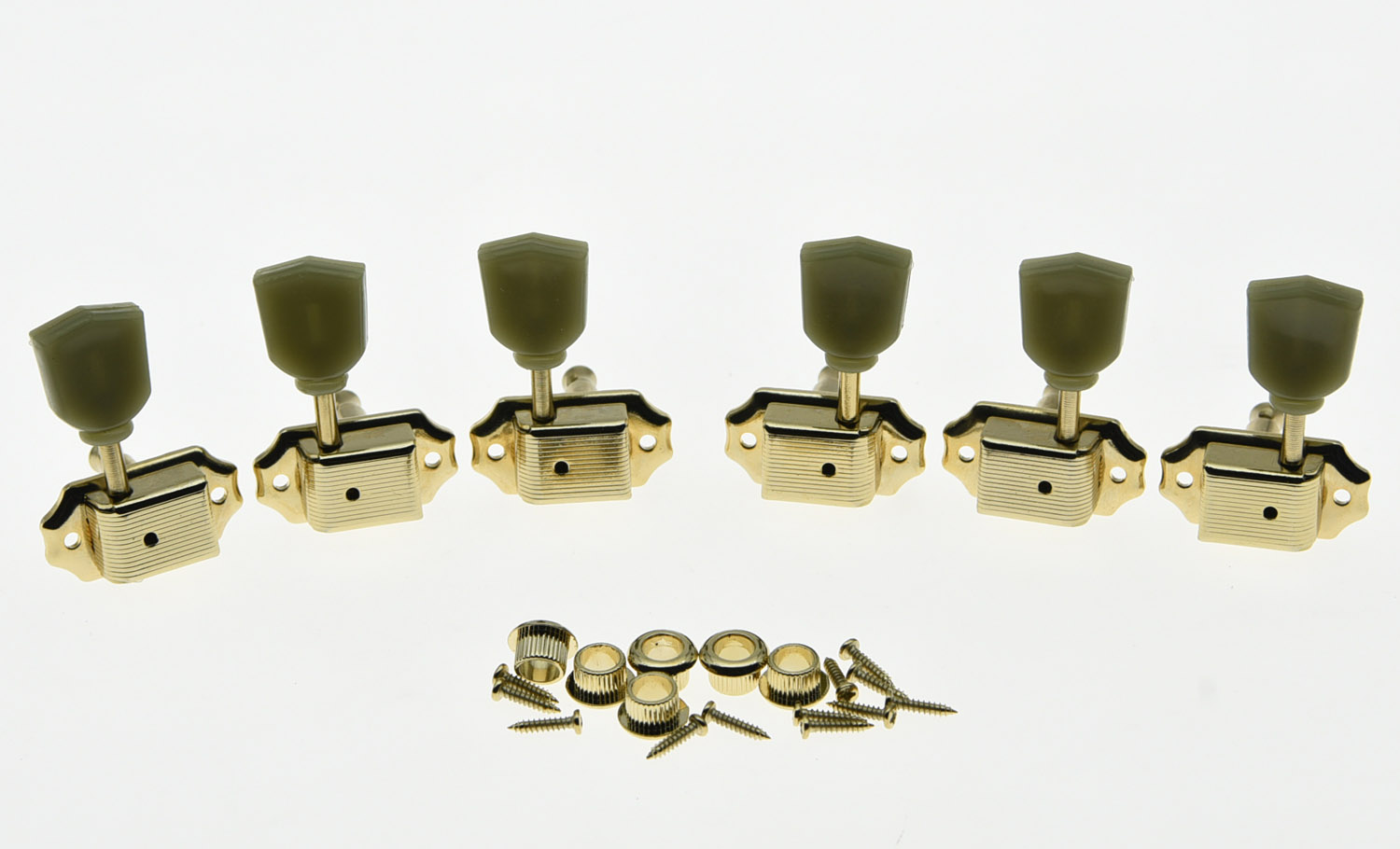 Gold 3L3R Deluxe Tuning Pegs Keys Guitar Tuners Machine Heads Fits LP a set chrome sealed gear tuning pegs machine heads tuners for guitar with black big square wood texture buttons