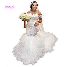 فساتين زفاف حورية البحر بدون حمالات مزينة بالخرز على شكل سباغيتي للعروس