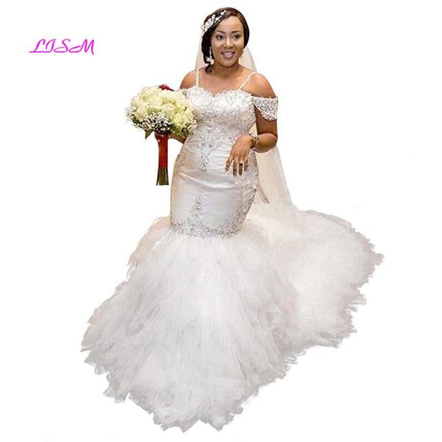 Strapless Beaded Spaghetti Starps Mermaid Wedding Dresses for Bride