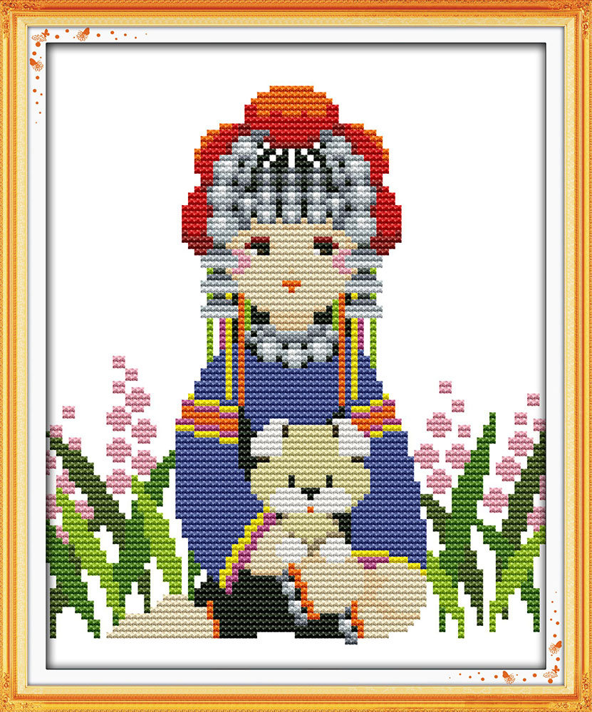 Ethnic minority girl cross stitch kit cartoon girl print stamped 14ct 11ct hand embroidery DIY handmade needlework supplies bag