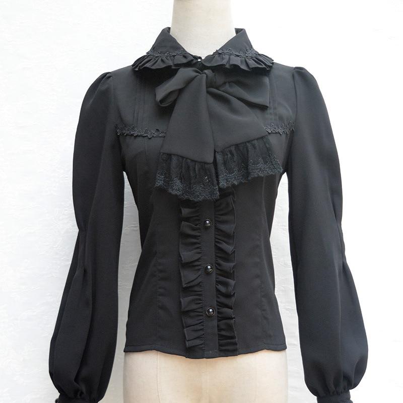 Nieuw Lolita Vintage Chiffon Shirt Kraagvorm Lange Lantaarn Mouw - Dameskleding