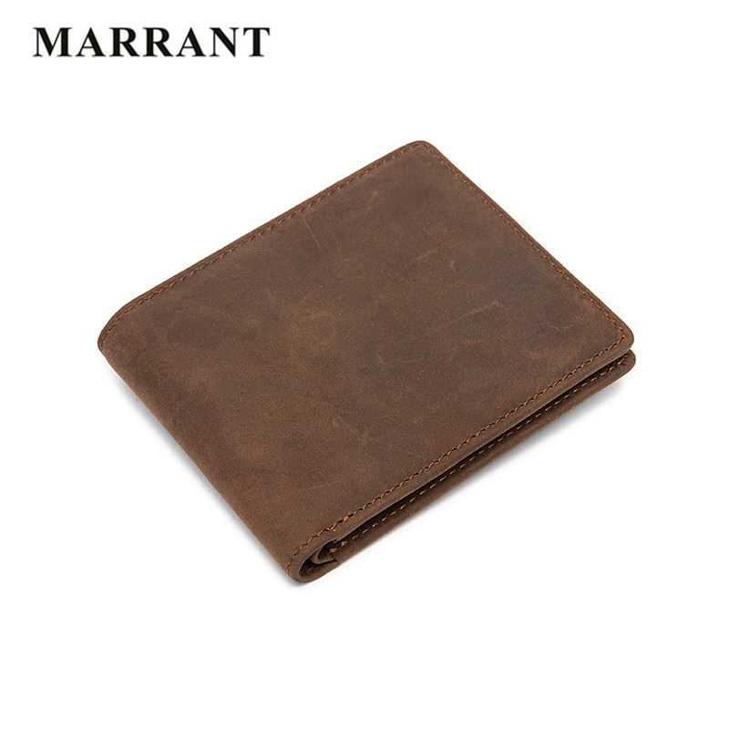 MARRANT Brand Crazy Horse Genuine Leather font b Wallet b font font b Men b font