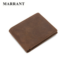 MARRANT Brand Crazy Horse Genuine Leather Wallet Men Wallets Vintage Men's Purse Card Holder Wallets Men's Short Standard Wallet