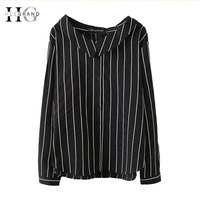 HEE GRAND 2018 Women Striped Blouses Long Sleeve Shirts Plus Size 5XL Oversize Preppy Style White Summer Tops for Women WCX1300