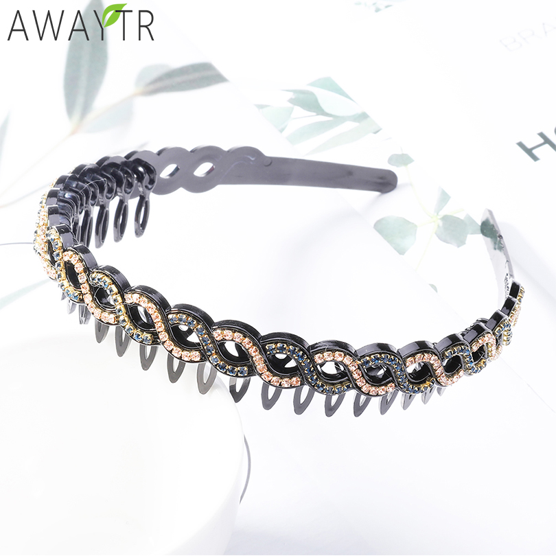 Женский обруч для волос AWAYTR, в стиле ретро, с кристаллами и зубцами, украшение для волос «сделай сам», аксессуар для волос
