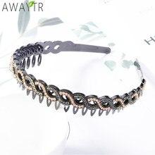 AWAYTR-Diadema Retro de cristal con dientes para niña y mujer, tocado fijo, joyería artesanal, accesorios para el cabello
