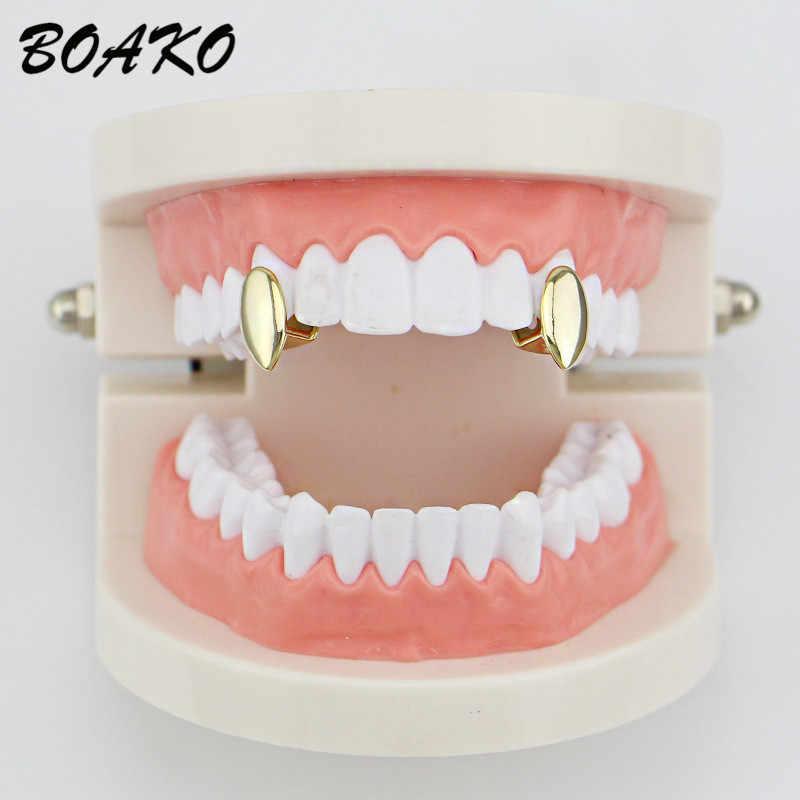 BOAKO золотые и Серебристые зубы Grillz модный раппер Рок Хип-хоп Формочки шапки сверху и снизу Bling из одного декоративные Зубные коронки вечерние украшения для тела