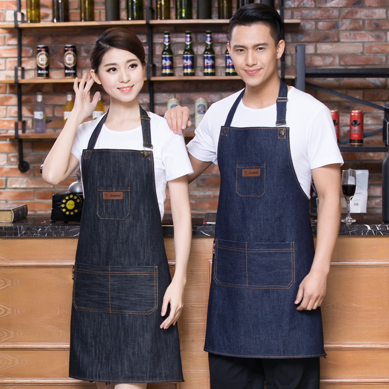 Adult fashion cowboy men and women hanging neck apron painting Western restaurant baking home work