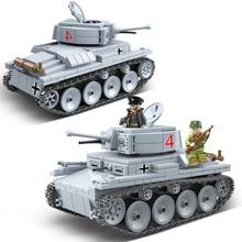 WW2 Military LT-38 German Light Tank Soldier Weapon Building Blocks WW2 Military Tank weapon accessory Bricks Toys For Children