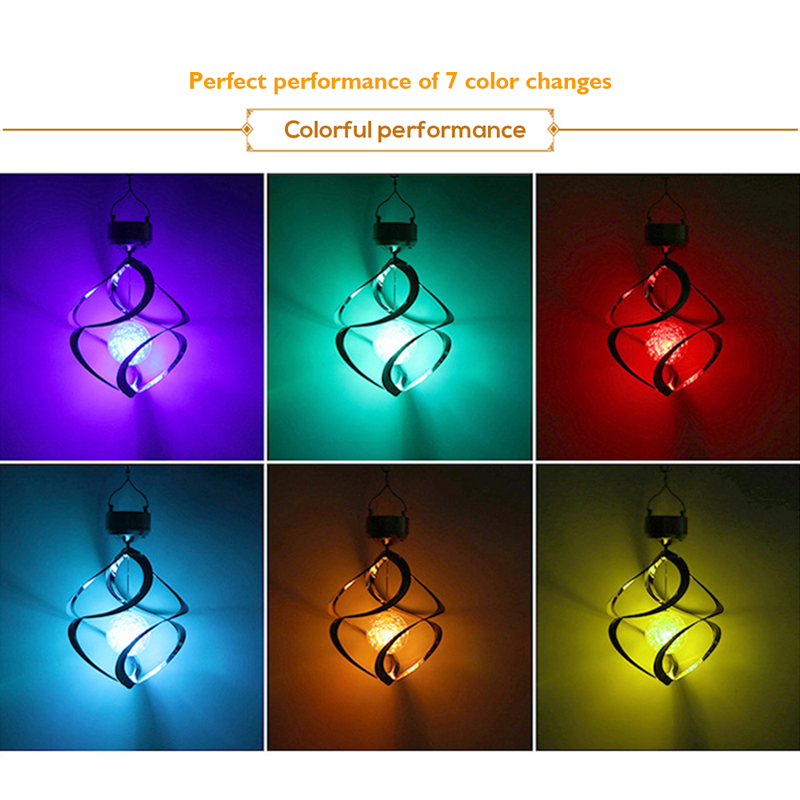 Solar Lights LED Outdoor Wind Chimes Color Changing Hanging Light Spiral Spinner Lamp Decoration for Garden Patio Balcony Indoor (30)
