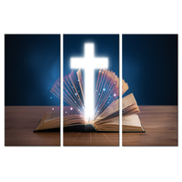 3 Pieces Religious Spiritual Canvas Wall Art Open Holy Bible With Glowing Christian Cross On Wooden Deck Painting For Home Decor