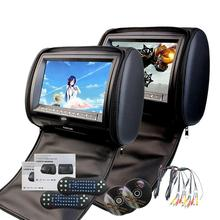 Two Car Headrests DVD Player 9inch Twin Screen for USB SD Multimedia Video with IR FM Transmitter Double Pair Car Pillow Monitor