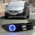 2x LED de luzes diurnas DRL lente do projetor faróis de nevoeiro + Angel Eyes Kit para Volkswagen VW Touran 2008 - 2010