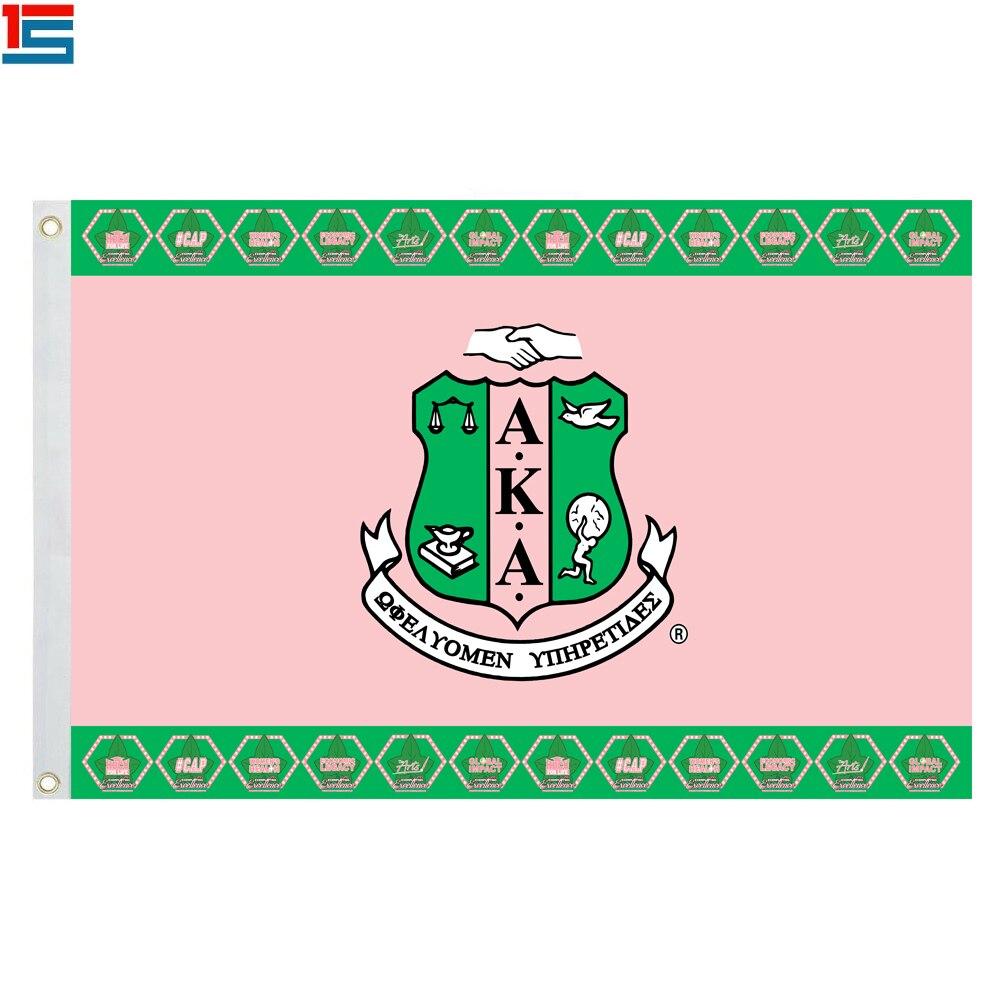 Rosa Und Grün Version Alpha Kappa Alpha Flagge Aka Sorority Banner Aka Sorority Und Brüderlichkeit Flagge Mit 2 ösen