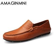 AMAGINMNI tamaño grande 35-47 resbalón en holgazanes hombres casual primavera y otoño mens mocasines zapatos de cuero genuino hombres zapatos de los planos de nueva