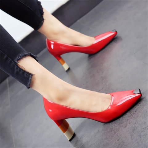 ALLBITEFO Colored heel fashion women high heel shoes metal square toe girls party wedding shoes spring women pumps high heels Karachi