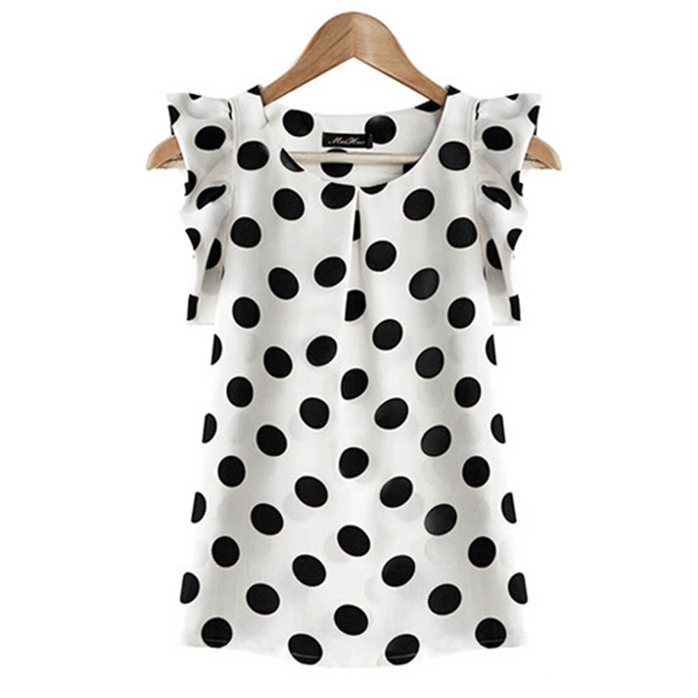 2018  Women Summer Polka Dot Chiffon Blouse Puffed Short Sleeve Shirt Black Dot women Tops Blouse H9