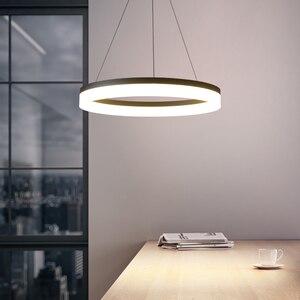 Image 2 - Trắng/Đen LED Hiện Đại Mặt Dây Chuyền Đèn Cho Ăn Phòng Khách Lamparas Colgantes Pendientes Treo Đèn Treo Đèn Led