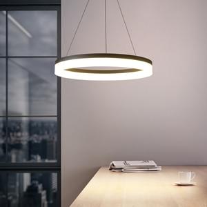Image 2 - Weiß/Schwarz Moderne LED Anhänger Lichter Für Esszimmer Wohnzimmer lamparas colgantes pendientes Hängen Lampe suspension leuchte