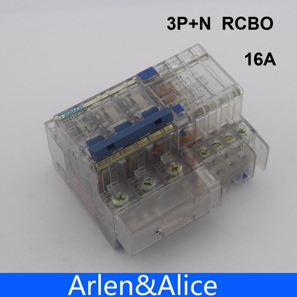 Gewidmet Dz47le 3 P Elektrische Ausrüstungen & Supplies N 16a 400 V ~ 50 Hz/60 Hz Fehlerstromschutzschalter Mit über Strom Und Leck Rcbo Leistungsschalter