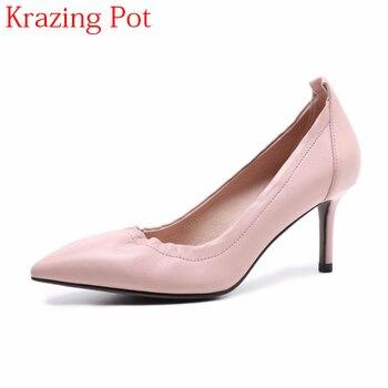 2018 Full Grain Leather Office Lady Classics Shoe Fashion Brand Shallow Elegant Pointed Toe High Heels Stiletto Women Pumps L1f7