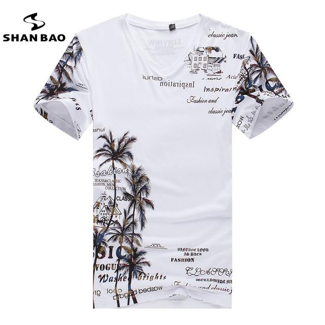 Algodón de Los Hombres T-shirt de Moda V-cuello Delgado de Manga Corta Camiseta hombres casuales Holiday Beach Estilo Del Verano Camiseta de La Impresión Superior 4XL 5XL