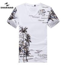 Baumwolle herren T-shirt V-ausschnitt Mode Dünne Kurzhülse T-shirt lässig männer Holiday Beach Style Sommer Drucken T-shirt Top 4XL 5XL
