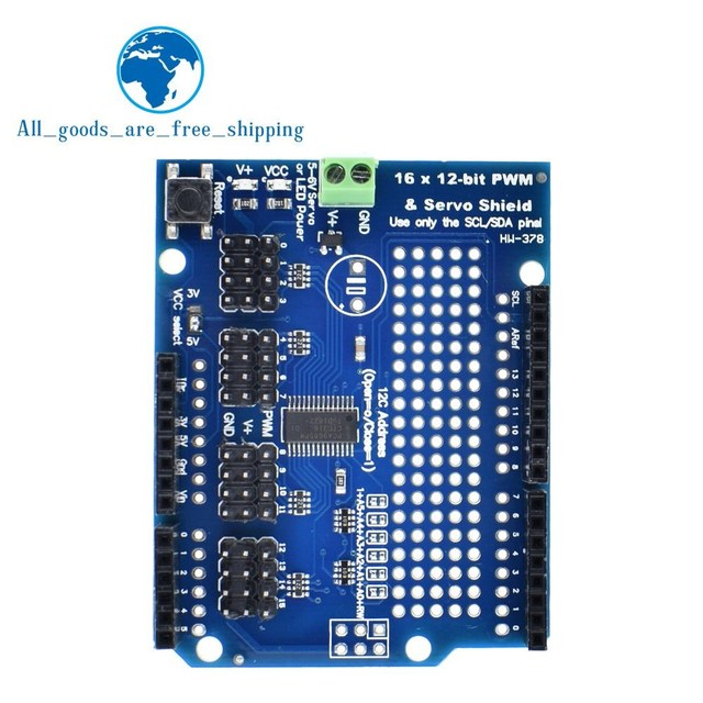 US $2 5 |TZT 1PCS Motor/Stepper/Servo/Robot Shield for Arduino I2C v2 Kit  w/ PWM Driver TOP-in Integrated Circuits from Electronic Components &