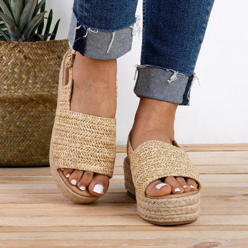Litthing Comfortable Sandals Flats Wedges Platform Beach-Shoes High-Heel Female Woman