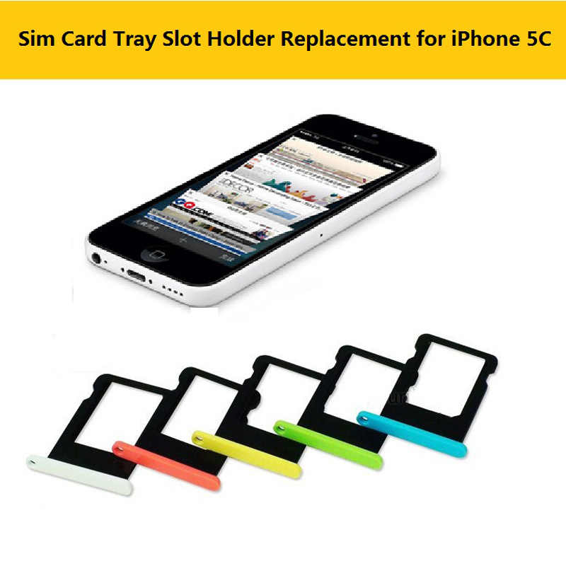 Colorful sim card tray holder slot penggantian untuk apple iphone kartu sim card slot tray untuk penutup iphone 5c 5c aksesoris