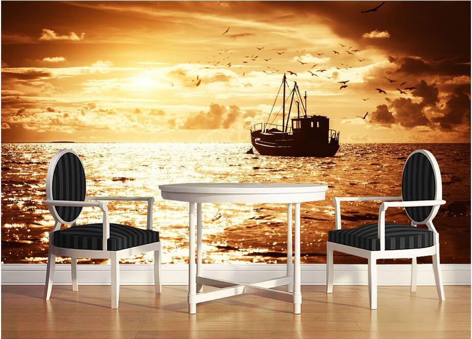 3d wallpaper custom photo non woven setting sun fishing for Decoration 3d sol
