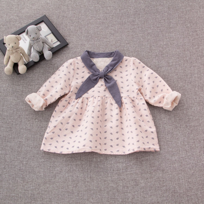 Preppy Style Autumn Infant Leaf Print Baby Girls Long Sleeve Bow Collar Princess Party Kids Pleated