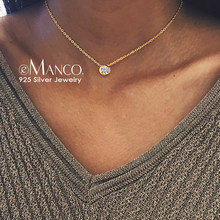 eManco 925 Sterling Silver Necklace Simple CZ Cubic Zirconia Pendant Necklace for Women Gold Color Wedding Jewelry Fashion(China)
