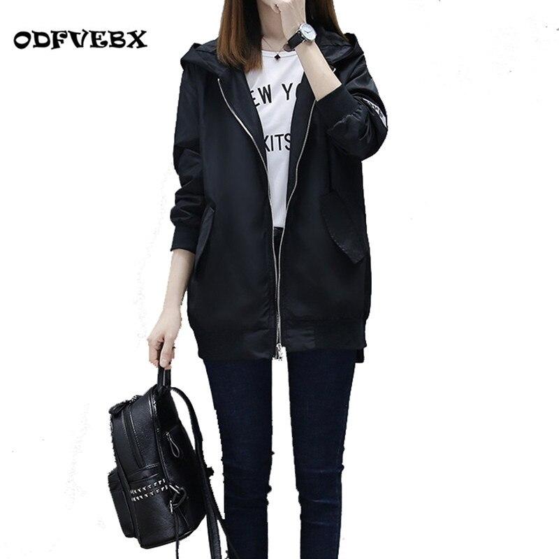 2019 automne nouvelle femme coupe-vent veste lâche moyen long à capuche baseball uniforme printemps manteau femmes vêtements ODFVEBX