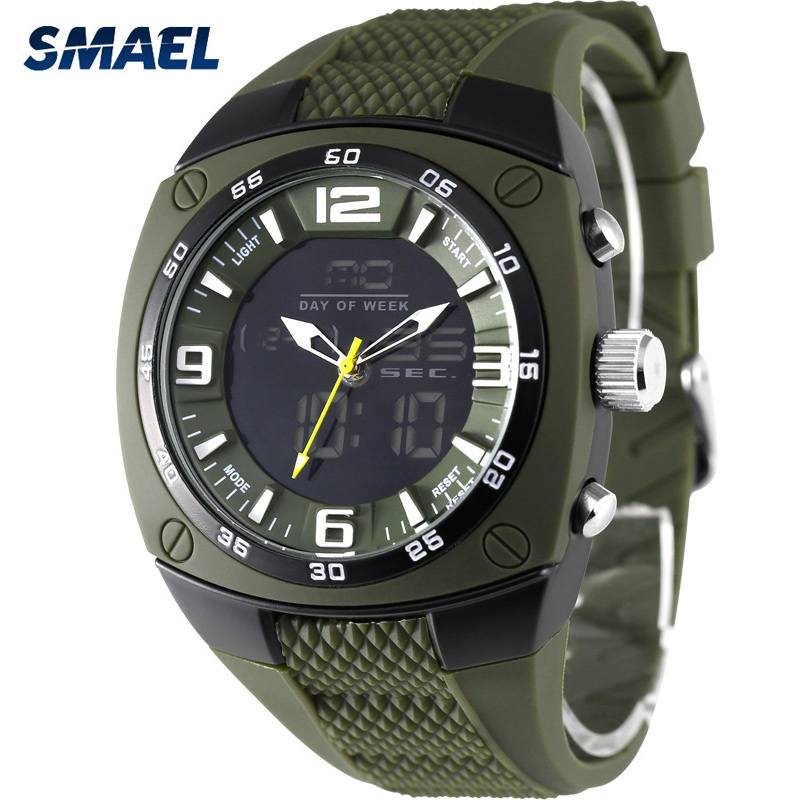 SMAEL Big Dial Men Sports Watches Military LED Watch 50M Waterproof Digital Quartz Man Wristwatches Clock Male Relogio Masculino new wired 7 video door phone 1 hd ir night vision doorbell camera with rfid password keypad 1 lcd monitor screen free shipping