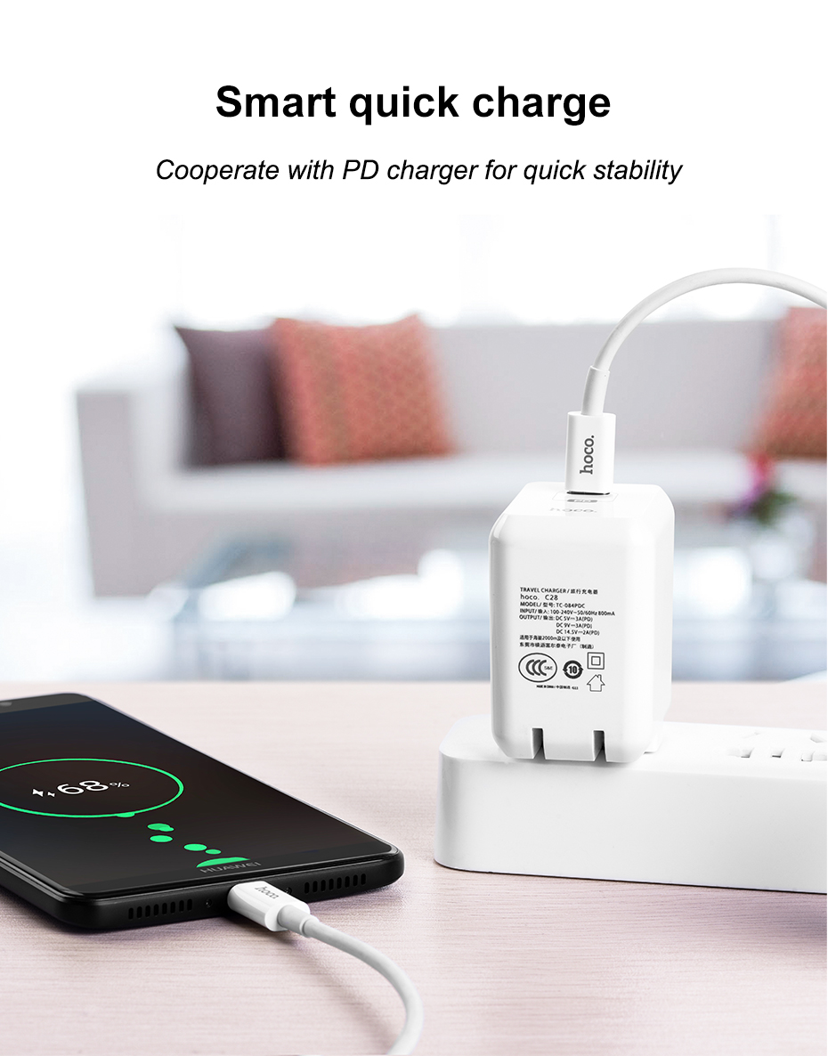 HOCO 3A USB Type C to USB Type-C Cable for MacBook Fast Charging Data Sync USBC to USBC Cable for Samsung S9 S8 USB C Tipe