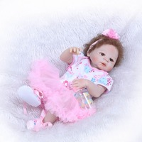 NPK Bebe Reborn Fair skin girl with curly hair Dolls 23 Inch Handmade Full Body Silicone Lifelike Baby toys With Magnet pacifier