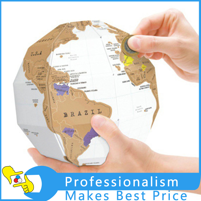 Travel World map DIY 3D Puzzle Cubic Combination 3D Globe World Map Deluxe 3D scratch Map Mini Creative Version metal diy nano 3d puzzle model tiger tank kids diy craft 3d metal model puzzles 3d solid jigsaw puzzle