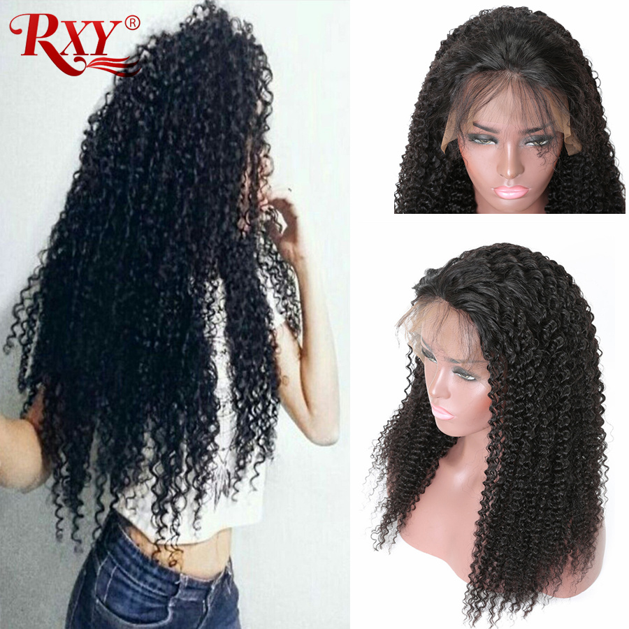 RXY Lace Front Human Hair Wigs Brazilian Lace Front Wigs Afro Kinky Curly Wig Pre Plucked