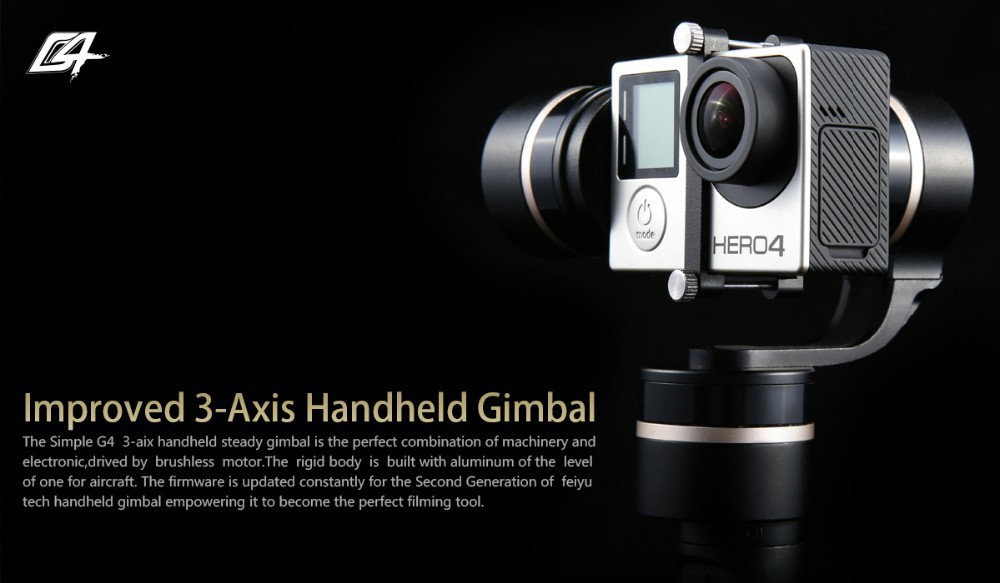 Guarantee Feiyu Tech Newest G4 3 axis handheld gimbal Steadycam Gimbal for gopro 3  3 +  4
