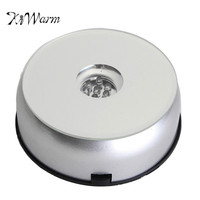 KiWarm Fashion White 7 LED Light Unique 3D Electric Rotating Crystal Base Stand Display Adapter Ornament